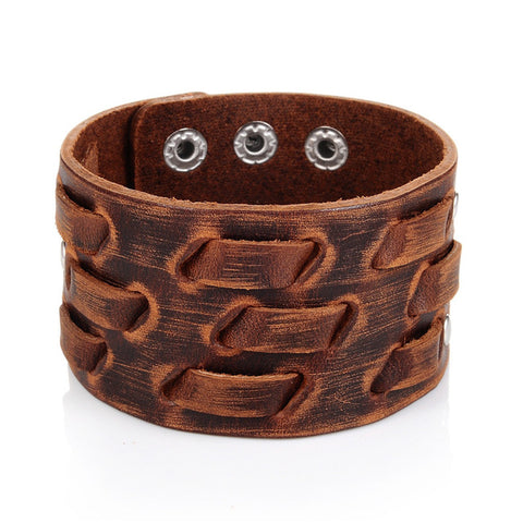 wide leather cuff bracelet & bangle for men