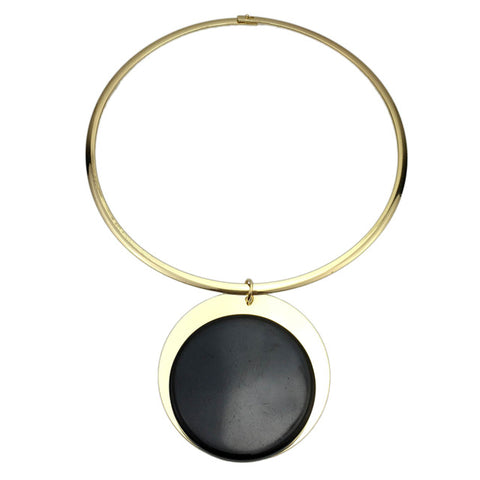 punk metal inlay acrylic pendant choker necklace for women