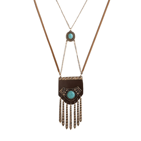 vintage tassel pendant double chain necklace for women