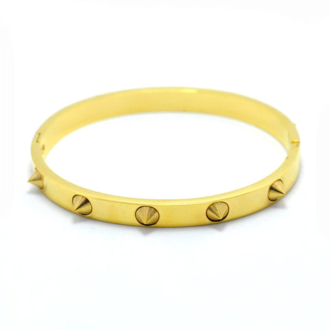 punk style gold color spikes bangle bracelet for women