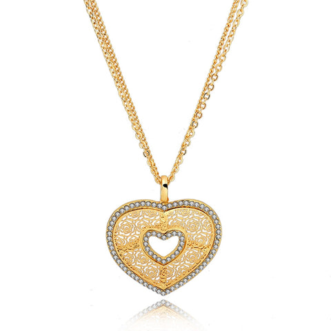 gold color heart crystal pendant necklace for women