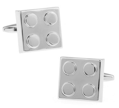 silver toy brick design cufflinks for men