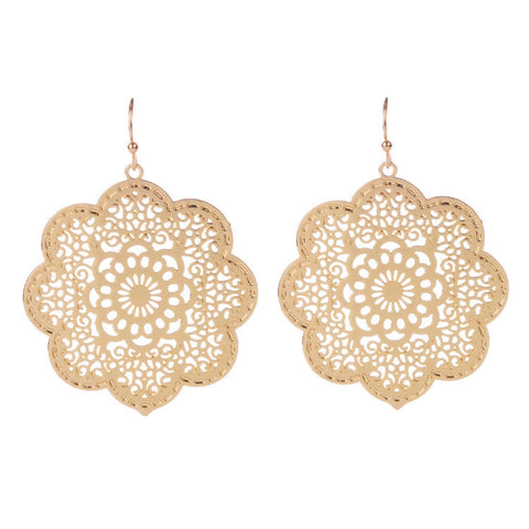 trendy hollow flower shape dangle earrings for women
