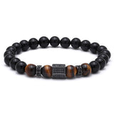 natural stone beaded bracelet punk bracelet for men