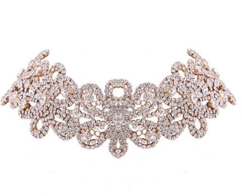 crystal rhinestone flowers choker necklace for women