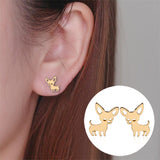 cute tiny chihuahua dog stud earrings for women