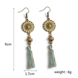 bohemian colorful tassel dangle earrings for women
