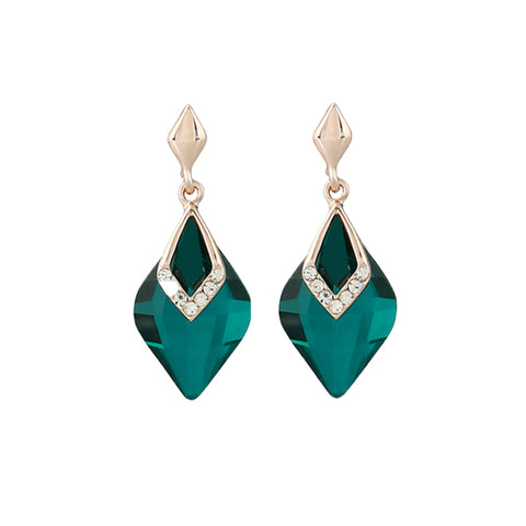 elegant gold color water drop shaped crystal earrings for women