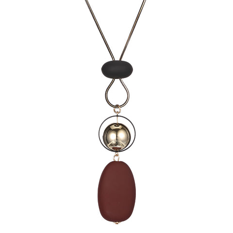 wood beads pendant long necklace for women
