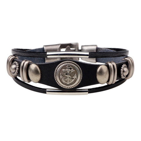 rock style leather bracelet & bangle