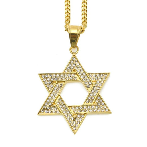 gold plated iced out star of david pendant link chain necklace