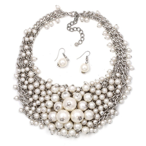 elegant simulated pearl statement jewelry set for women