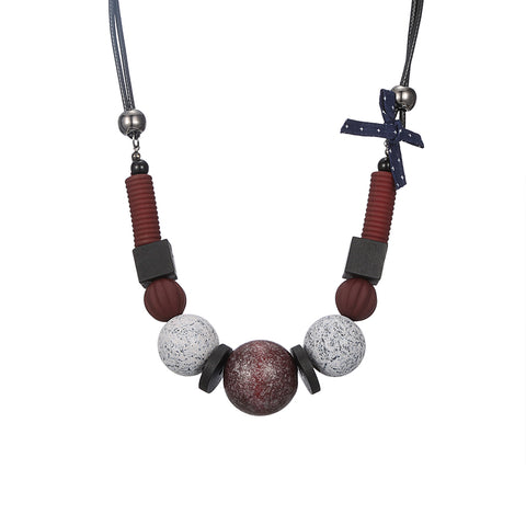 wood beads statement necklace & pendant for women
