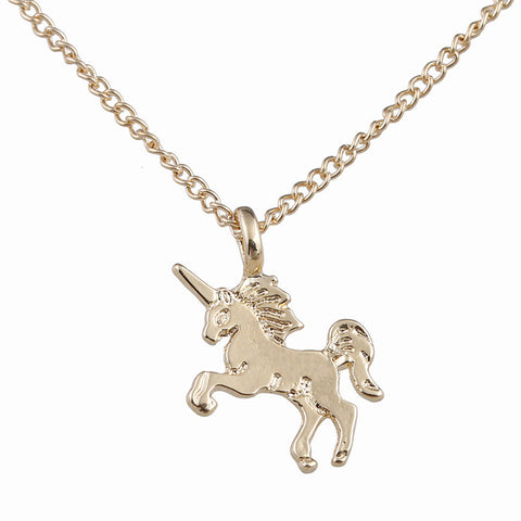 simple gold & silver plated unicorn pendant chain necklace