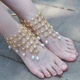 vintage imitate pearl chain beach anklet for women