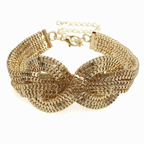 punk golden chunky chain cuff bracelet for women