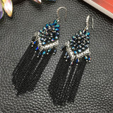 bohemian colorful beads chain tassel drop earrings for women
