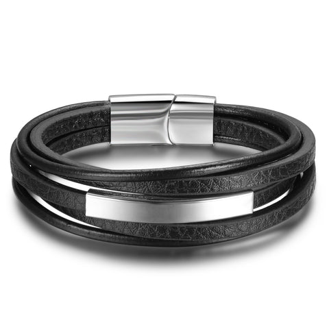 punk style stainless steel leather bracelet for men