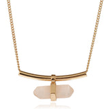 gold color natural stone crystal pendant necklace