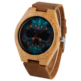 punk skull pattern bamboo wood genuine leather watch