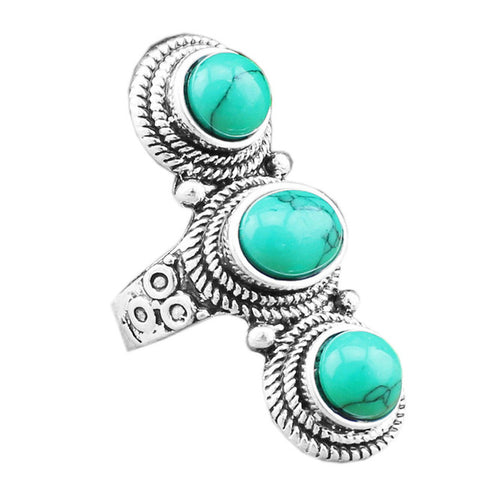 vintage antique silver plated natural stone ring for women