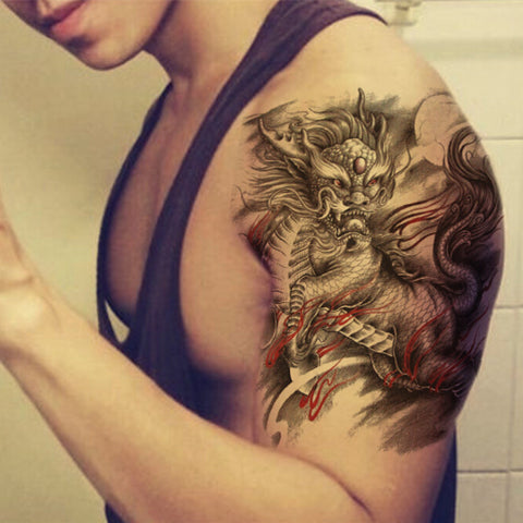 sexy dragon large pattern temporary tattoo sticker