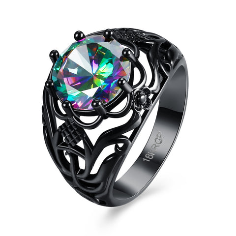 classic black gold color mystic rainbow fire stone ring