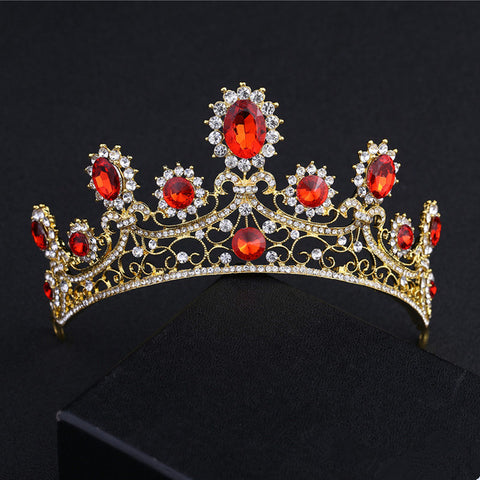 gold color red crystal tiara crown hair band for women
