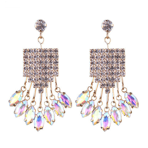 luxury rhinestone crystal tassel drop earrings for women