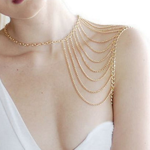 shoulder chain long pendant body necklace for women