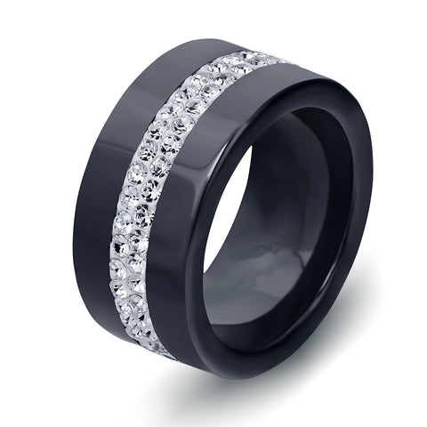 black and white 2 row crystal ceramic ring for women