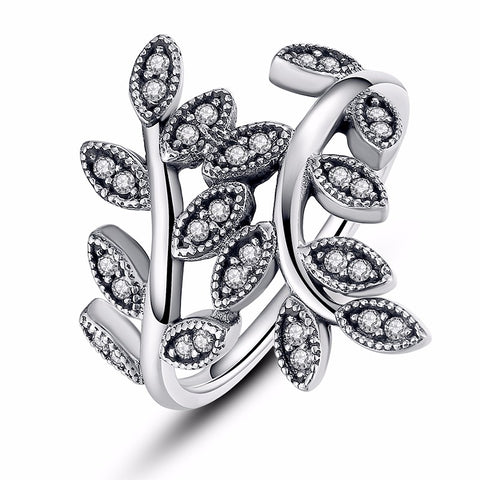 925 sterling silver with cz leaves ring for women