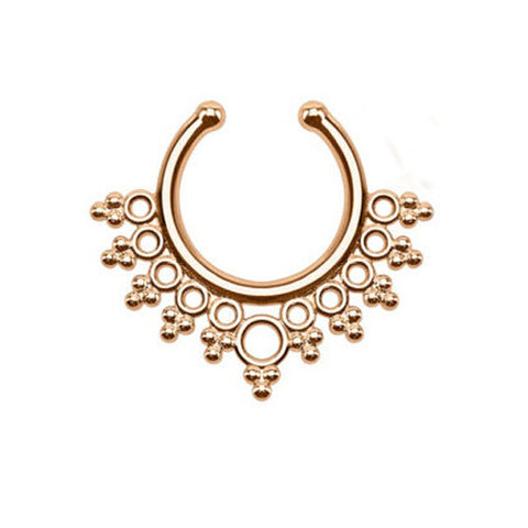 rose gold color clip on nose ring fake septum piercing