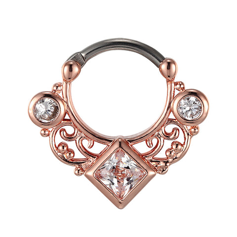 rose gold color crystal septum nose ring for women