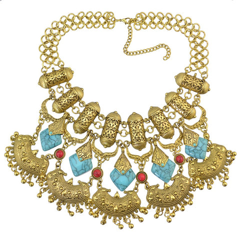 ethnic chain resin stone flower statement necklace for women