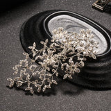 luxury crystal rhinestone leaf hair clip for women