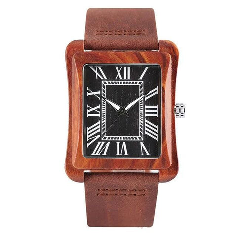 elegant square wooden case roman numbers dial watch for men