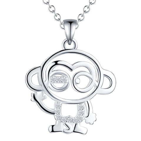 Silver color monkey pendant necklace with zircon