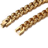 punk style gold color stainless steel chain link bracelet for men