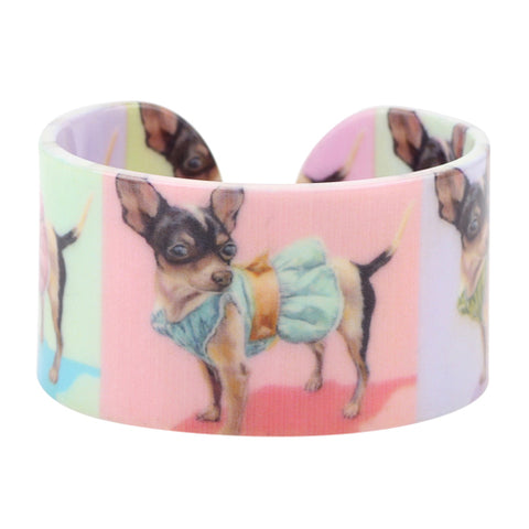 cute wide acrylic chihuahua dog pattern bracelet for women