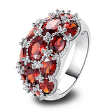 luxuriant oval red garnet silver ring for women