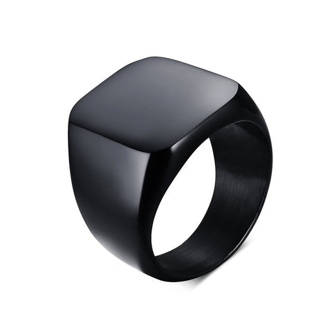 solid black/silver color stainless steel square ring for men