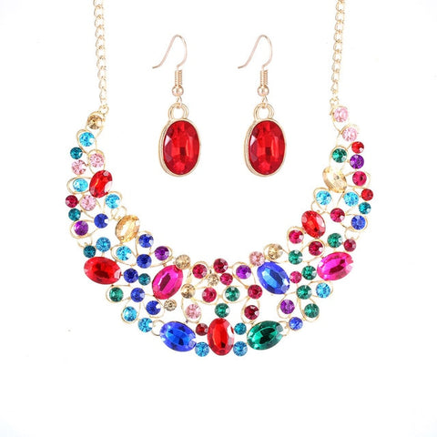 cute colorful glass hollow statement jewelry set for women
