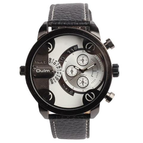 trendy leather strap dual time zone quartz wrist watch for men