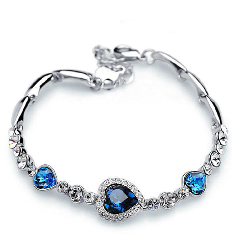 ocean blue crystal rhinestone heart bangle bracelet