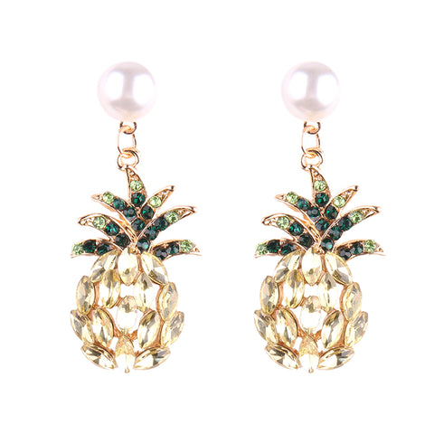 luxury crystal pineapple simulated pearl stud earrings for women