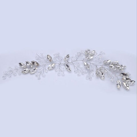 elegant silver color leaves shaped hair tiara for women