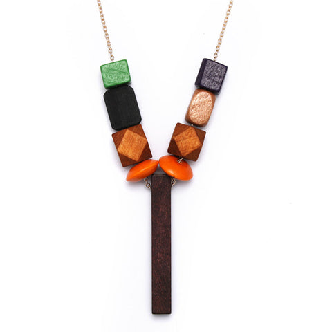 colorful handmade wood beads pendant necklace for women