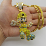 lage size luigi cartoon iced out pendant chain necklace
