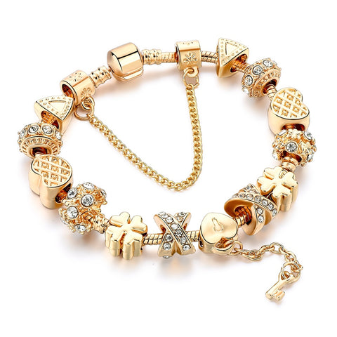 gold color white crystal key charm bracelet for women